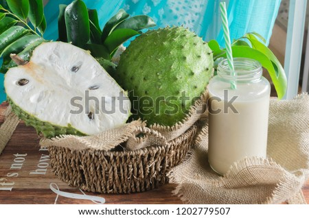 Soursop (also graviola, guyabano, and in Latin America, guanábana) is the fruit of Annona muricata, a broadleaf, flowering, evergreen tree #1202779507