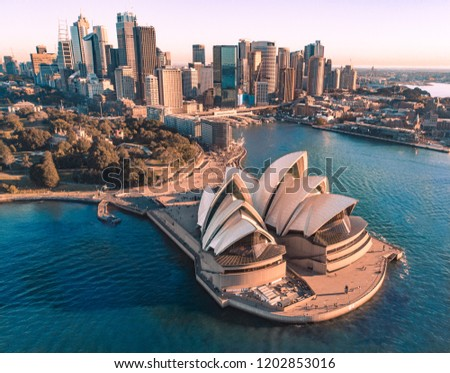 SYDNEY, AUSTRALIA - AUGUST 12 2018 - Aerial  view of Sydney Opera House and Sydney city #1202853016