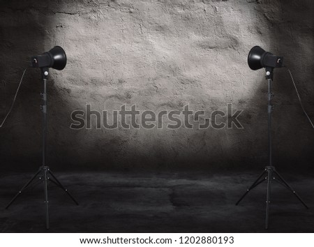photo studio in old grunge room with concrete wall, urban background #1202880193