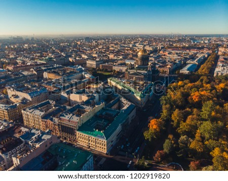 Crossing Nevsky and Admiralty Avenue of St. Petersburg on Sunny autumn day top view aerial dron #1202919820