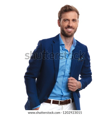 relaxed happy smart casuam man posing on white background #1202923015