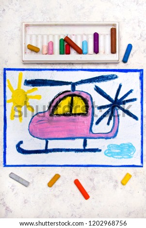 Colorful hand drawing: Cute pink helicopter