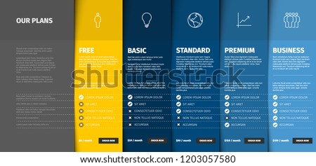 Price comparison table for five products / services with description and icons - blue and yellow version Royalty-Free Stock Photo #1203057580