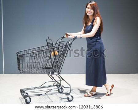 girl women and shopping cart #1203113806