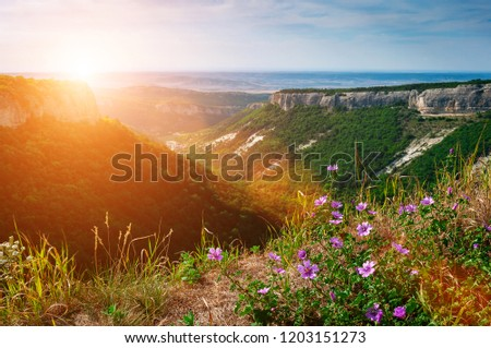 Dramatic landscape of mountains and valley in Crimea. Ancient abandoned mountain town Mangup Kale. #1203151273