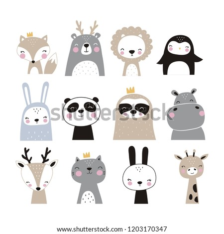 Hand drawn vector illustration for posters, cards, t-shirts. Cute sloth, hippo, fox, penguin, deer, tiger, bunny, panda, giraffe, bear Royalty-Free Stock Photo #1203170347