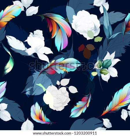 Seamless floral background pattern. Abstract flowers with feather and leaves on dark. Art for textile, fabric and other prints purpose. Hand drawn artwork, vector - stock.