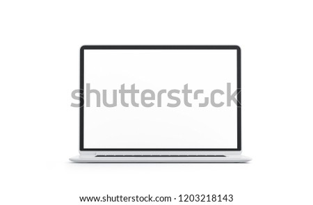 Blank white laptop screen mock up, isolated, 3d rendering. Empty computer display mockup, front view. Clear portable data processor. Pc monitor template mokcup .