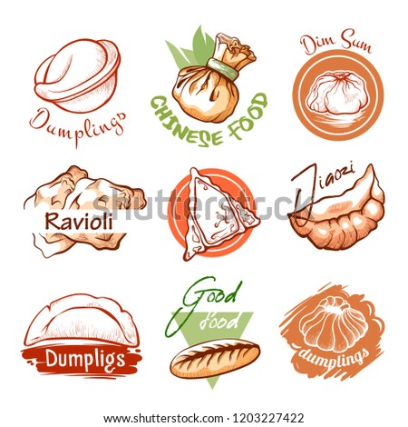 Dumplings oriental restaurant logo and graphic emblem. Small savoury balls of dough, cooked by boiling or steaming. Vector line art illustration isolated on white background #1203227422