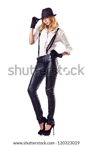 Attractive woman dancing in leather suit #120323029