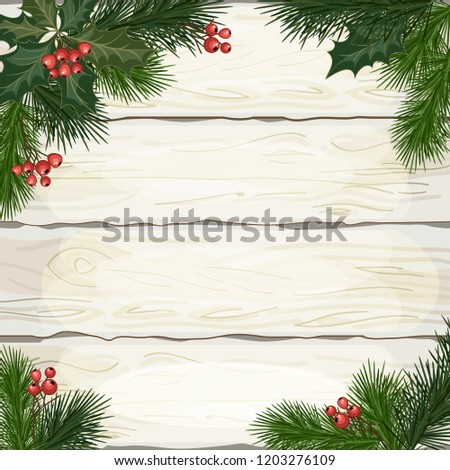 Christmas decorations, fir tree branches and decorative elements on white wooden background. Vector illustration. #1203276109