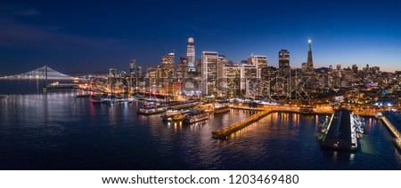 Aerial Panoramic Cityscape View of San Francisco at Dusk with Holiday City Lights, California, USA