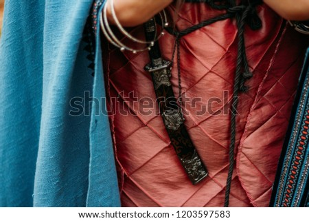 the dagger in the sheath hangs on the belt of a girl in a pink dress, with a blue cape.weapon, self-defense in antiquity. Royalty-Free Stock Photo #1203597583