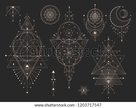 Vector set of Sacred geometric symbols with moon, eye, arrows, dreamcatcher and figures on black background. Gold abstract mystic signs collection drawn in lines. For you design. Royalty-Free Stock Photo #1203717547