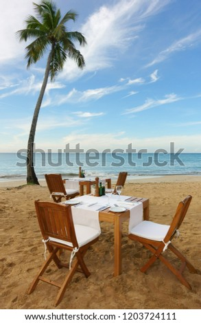 Outside dining setup on a tropical beach with palm tree                             #1203724111