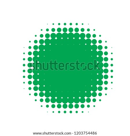 Green halftone circles, dots pattern, vector, grunge. Comic texture background. Monochrome half-tone. Circle halftone Dots, White and organic geometric gradient for pop art designs. #1203754486