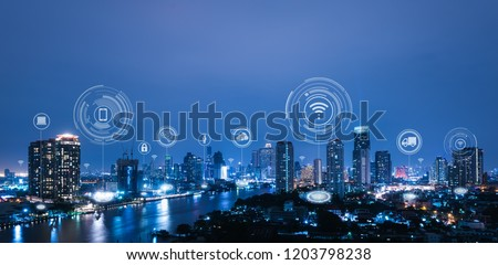 Cityscape with connecting dot technology of smart city conceptual #1203798238