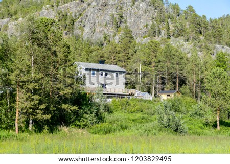 house in the forest, in Sweden Scandinavia North Europe #1203829495