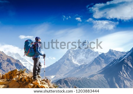 Hiker on the top in Himalayas mountains. Travel sport lifestyle concept #1203883444