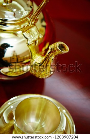 Traditional Korean wedding gold tea set  #1203907204