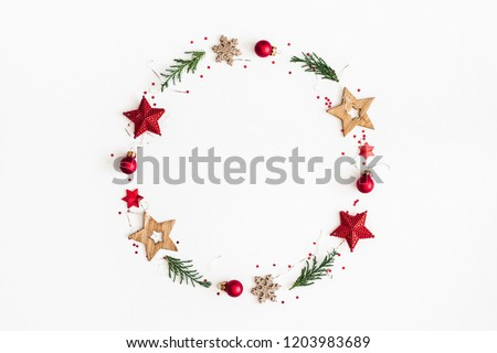 Christmas composition. Christmas wreath on white background. Flat lay, top view, copy space #1203983689