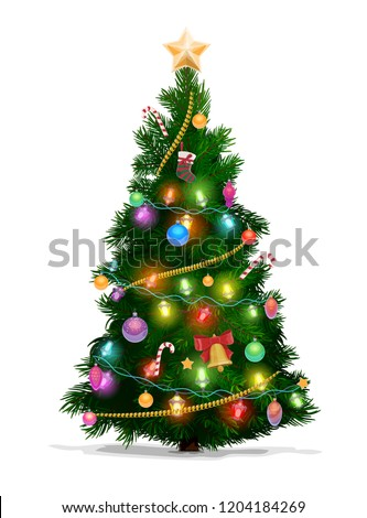Christmas tree with Xmas star, balls and lights. Green fir or pine, decorated with gift boxes, glowing garland and bell with red ribbon, stocking, candies and baubles. New Year holidays vector design