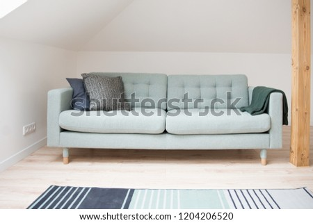 Modern green comfortable fabric sofa in the living room #1204206520