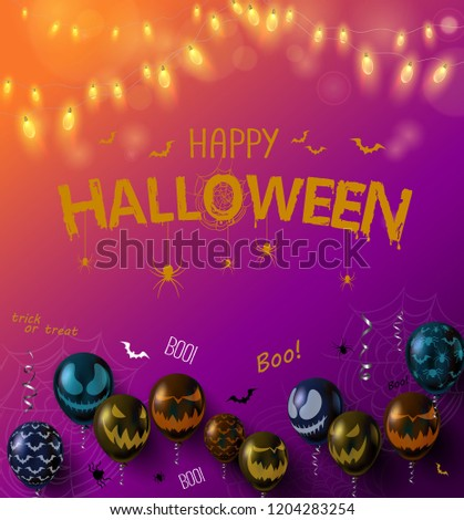 Gradient Happy Halloween poster with balloons with scary faces and lights. Holiday design. Vector background. #1204283254