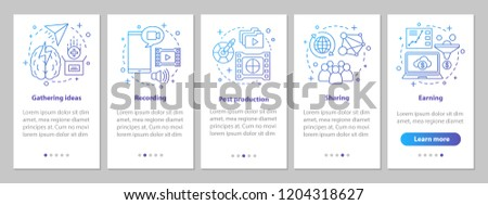 Vlogging onboarding mobile app page screen with linear concepts. Video idea, recording, post production, sharing, earning steps graphic instructions. UX, UI, GUI vector template with illustrations