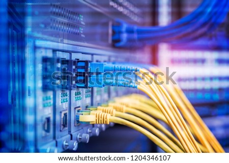 cables connected to an optic ports and UTP Network  #1204346107