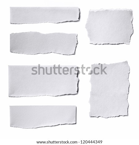 Collection of white paper tears, isolated on white with soft shadows. Royalty-Free Stock Photo #120444349