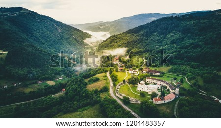 Studenica christian orthodox monastery from air. Serbia. #1204483357