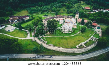 Studenica christian orthodox monastery from air. Serbia. #1204483366
