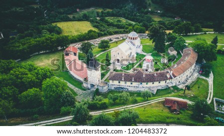 Studenica christian orthodox monastery from air. Serbia. #1204483372