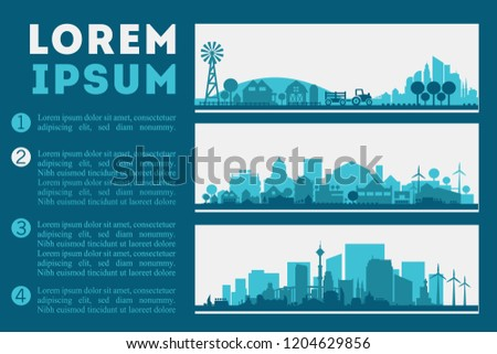 City Skyline Illustration, City and Town Concept Banners #1204629856