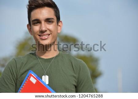 Hispanic Male Teen Military Student And Happiness #1204765288