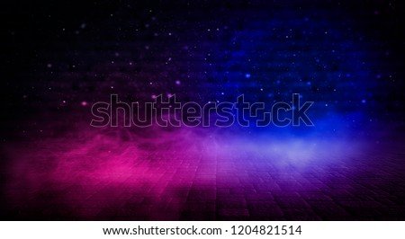 Background of an empty dark room. Empty walls, neon light, smoke, glow #1204821514