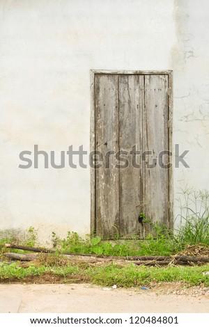 Old gray door on the Wall./Old door. #120484801