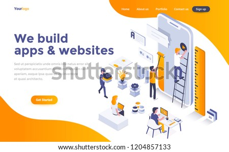 Modern flat design isometric concept of We build apps and websites for website and mobile website. Landing page template. Easy to edit and customize. Vector illustration Royalty-Free Stock Photo #1204857133