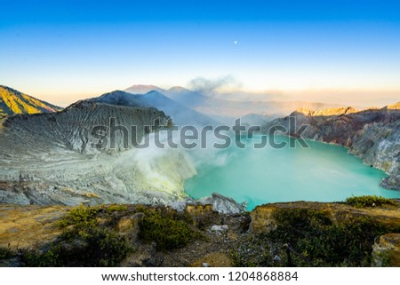 The sulfuric lake of Kawah Ijen vulcano in East Java, Indonesia #1204868884