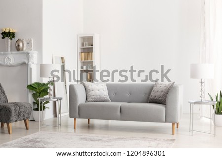 Grey sofa and lamps on silver tables in white apartment interior with flowers and armchair. Real photo #1204896301