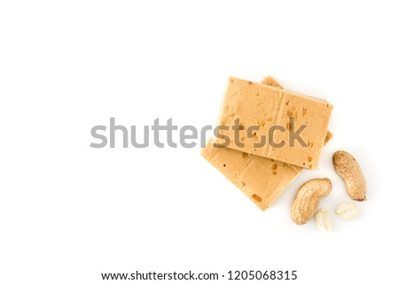 Peanut Christmas nougat isolated on white background. Typical Spanish.Top view. Copyspace #1205068315