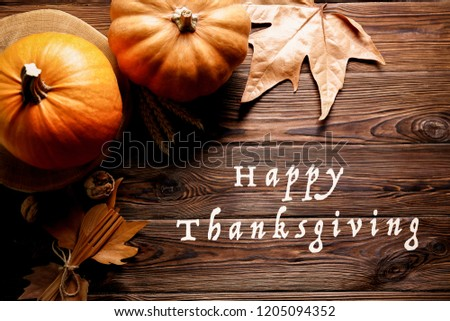 Happy thanksgiving concept. Still life composition with pumpkin and oher fruits and vegetble small decoration with funny font text white text. Wood textured table background. Top view, close up. #1205094352