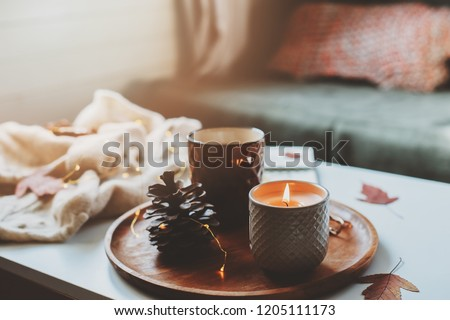 cozy autumn or winter morning at home. Still life details with cup of tea, candle, sketch book with herbarium and warm sweater. Scandinavian hygge concept #1205111173