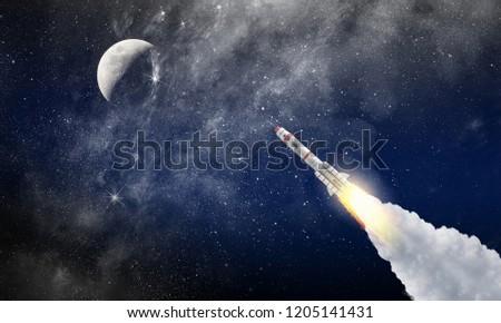 Rocket space ship . Mixed media #1205141431