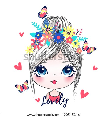 cute girl romantic butterfly vector illustration graphic design Royalty-Free Stock Photo #1205153161