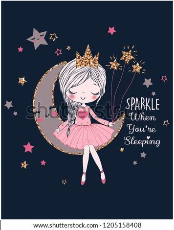 romantic girl on the moon dreamer girl vector illustration graphic design Royalty-Free Stock Photo #1205158408