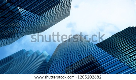 Modern building office and blue sky background, 3d rendering #1205202682
