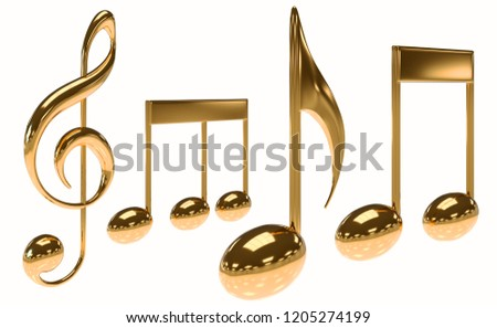 Luxurious Golden or copper music note icon. 3D Illustration rendering with clipping path