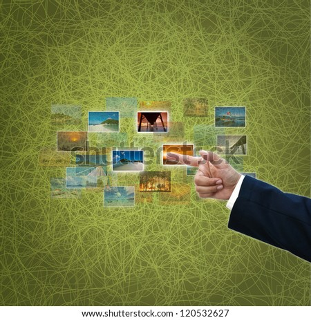 Business ideas on green abstract background. #120532627